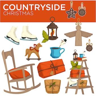 Countryside christmas winter holiday elements, symbols of celebration