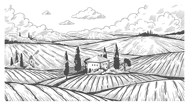 田舎の彫刻。田舎の丘、野原、農家のあるヴィンテージの自然景観スケッチ。農地と風車とベクトル手描きのモノクロイラスト国の牧草地