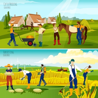 Countryside farming flat banners composition