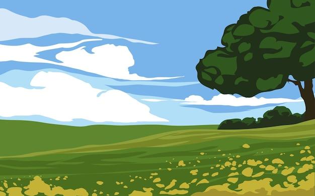 나무와 꽃 시골 필드 풍경