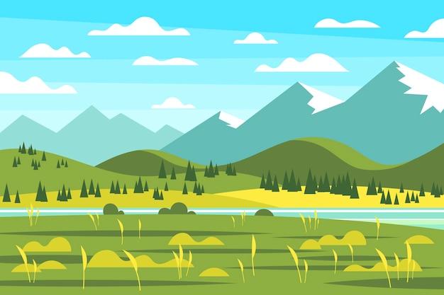 田舎の平らな春の風景