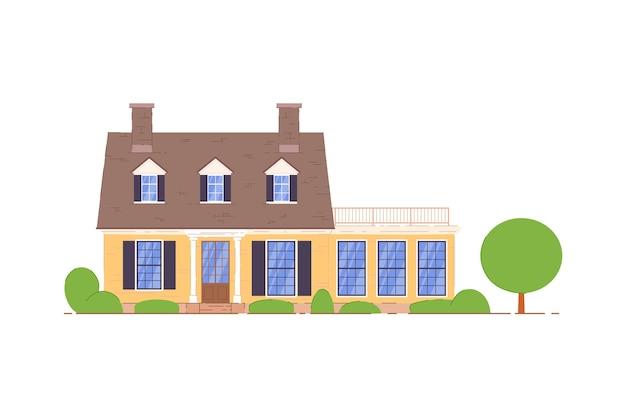 田舎の家。テラスとマンサードアイコンのあるプライベートカントリーサイドハウス。白い背景の上の家のアパート。住宅や住居の不動産イラスト