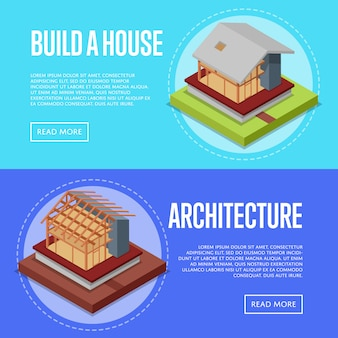 Countryside house architecture banner web set