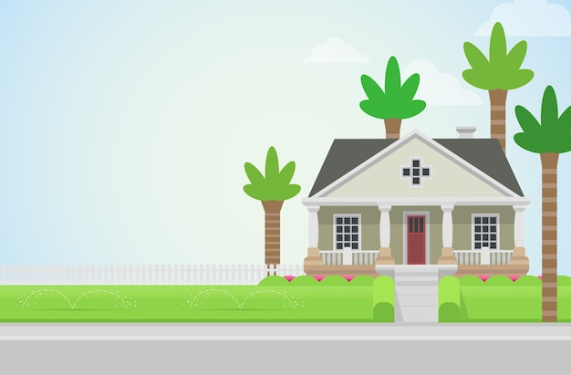 Chiesa di casa di campagna con palme sul concetto di prato verde elementi di architettura costruisci la tua collezione mondiale