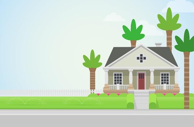 緑の芝生のコンセプトにヤシの木がある田舎の家の教会建築要素あなたの世界のコレクションを構築する