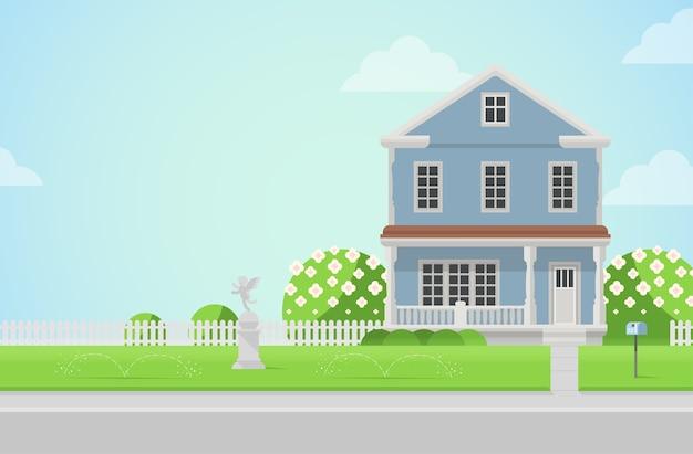 芝生のコンセプトにキューピッド像のある田舎の家建築要素あなたの世界のコレクションを構築する