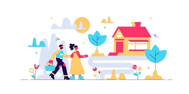 Иллюстрация сельской местности. плоские крошечные сельских ранчо человек концепции лица. классический коттедж за городом или городом. дом с земельным участком и травой. внешняя среда для здорового и спокойного отдыха