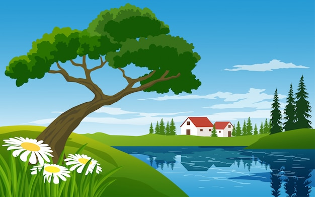 Countryside illustration with river and trees