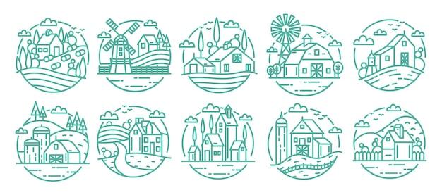 田舎のラベルセット。ファームのさまざまなロゴコレクション。線画モノクロベクトルイラスト。