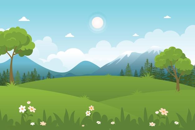 시골 풍경, 귀엽고 세련된 평면 디자인