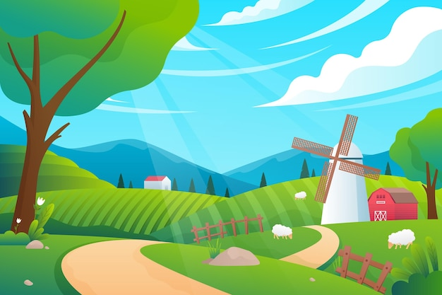 Countryside landscape illustration concept