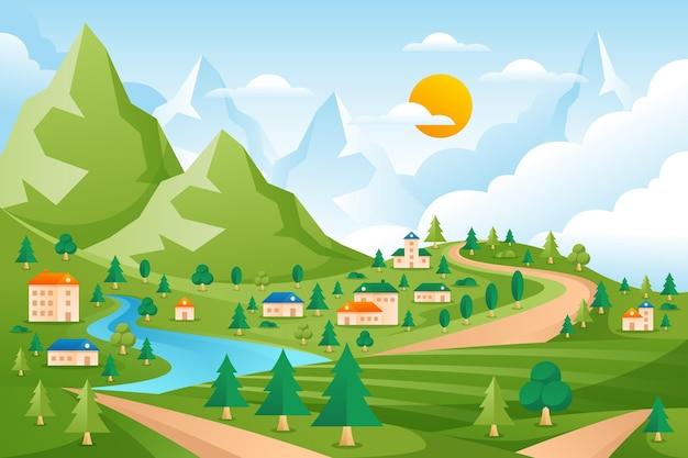 Countryside landscape illustration