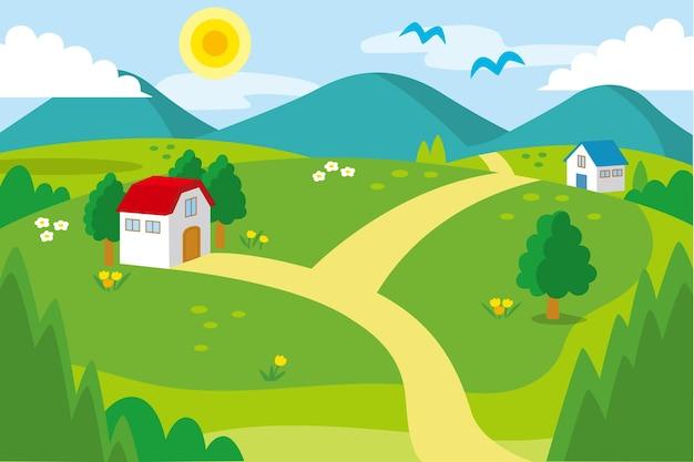 田舎の風景イラスト