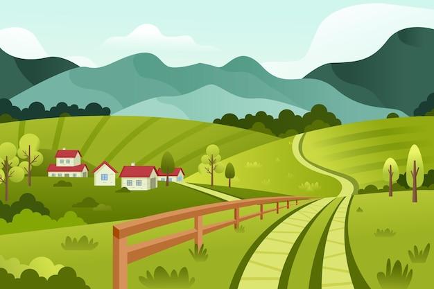 Сельский пейзаж иллюстрация