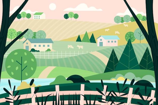 Illustrazione del paesaggio di campagna