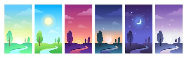 日中のさまざまな部分の田園風景。空と野原の昼間の円は、日の出、朝または正午、日の入り、夜になります。木と丘、星と月と夕日のベクトル図