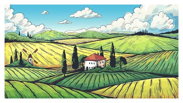 시골 풍경입니다. 시골 농가, 언덕과 마을의 들판이 있는 유기농 농장 스케치. 그림 국가 초원 및 농지 벡터 일러스트 레이 션 레이블