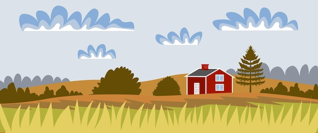 시골 풍경 파노라마 가을 풍경 소박한 집