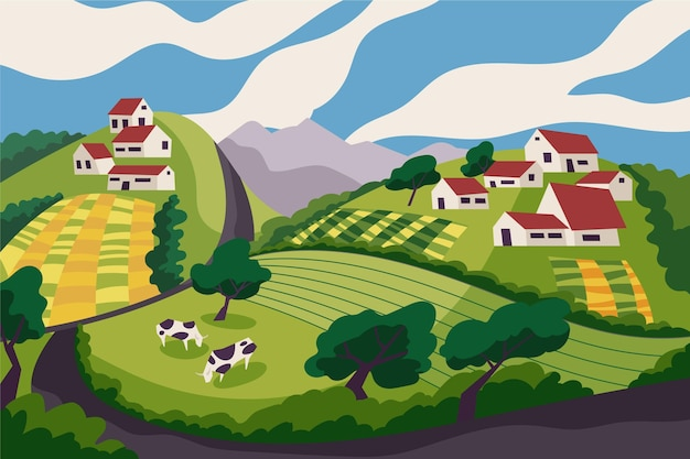 Countryside landscape with cows