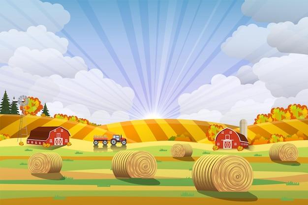 Сельский пейзаж со стогами сена на полях. пейзаж сельской местности. тюки сена. плоский пейзаж фермы. концепция органических продуктов питания для любого дизайна