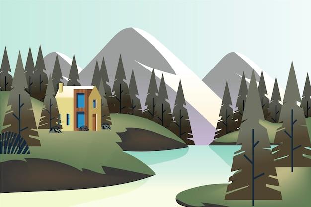Сельский пейзаж с домом и рекой