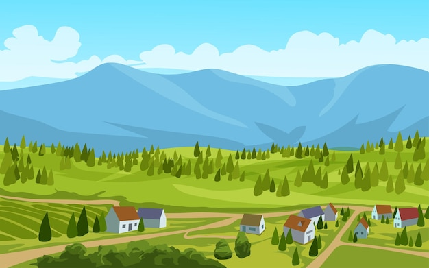 Countryside landscape with houses and mountain