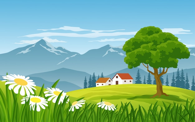 Countryside landscape with mountain