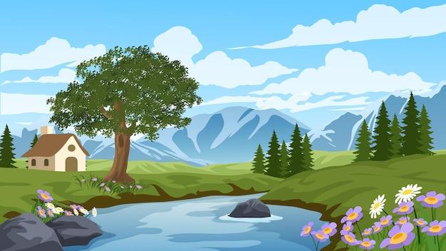 川と家のある田園風景