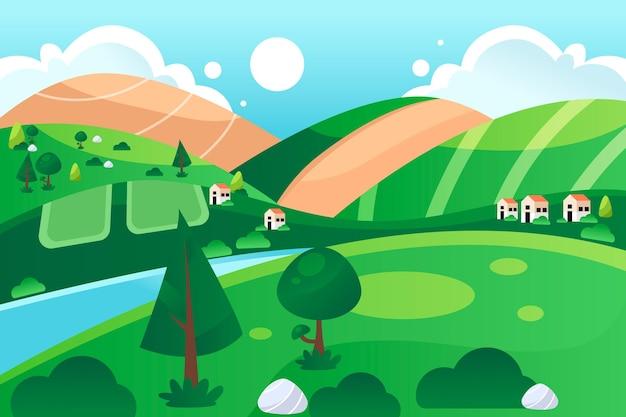 川と牧草地の田園風景