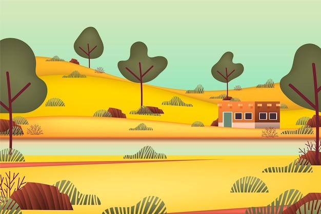Сельский пейзаж с рекой и деревьями
