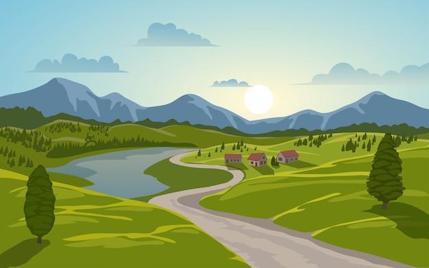 Сельский пейзаж с дорогой и горой