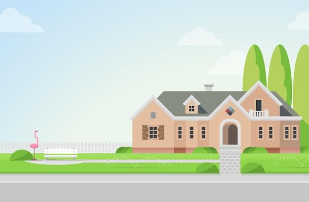 芝生のフラミンゴとベンチのコンセプトに裏庭のある田舎の邸宅建築要素あなたの世界のコレクションを構築する