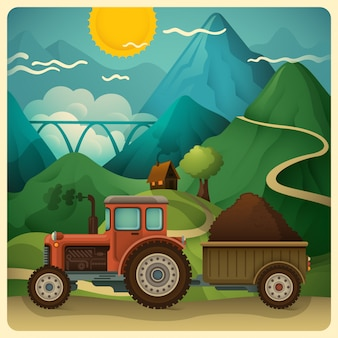 Countryside nature illustration