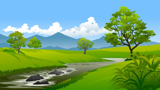 Countryside nature landscape with river and mountain