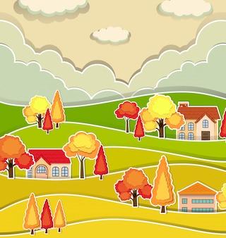 Scena della campagna con le case e l'albero in autunno
