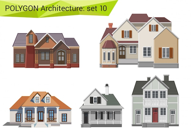 Countryside and suburb houses and buildings polygonal style set.