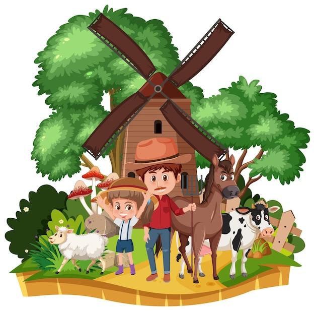Деревенский дом ветряной мельницы изолированные