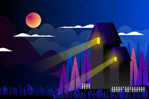 Countryside with fantasy night sky landscape illustration