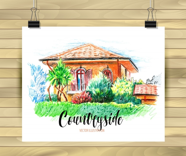 Countyside postcard with a green garden