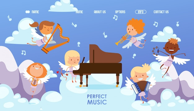 Coupidone kids play perfect music  illustration. boy and girl character play piano, harp, tambourine, trumpet and accordion
