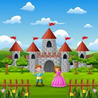 Пара принцессы и принца перед замком