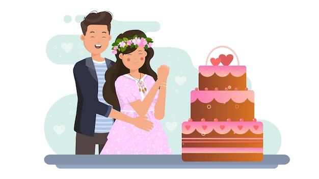 Пара и торт на валентина иллюстрации