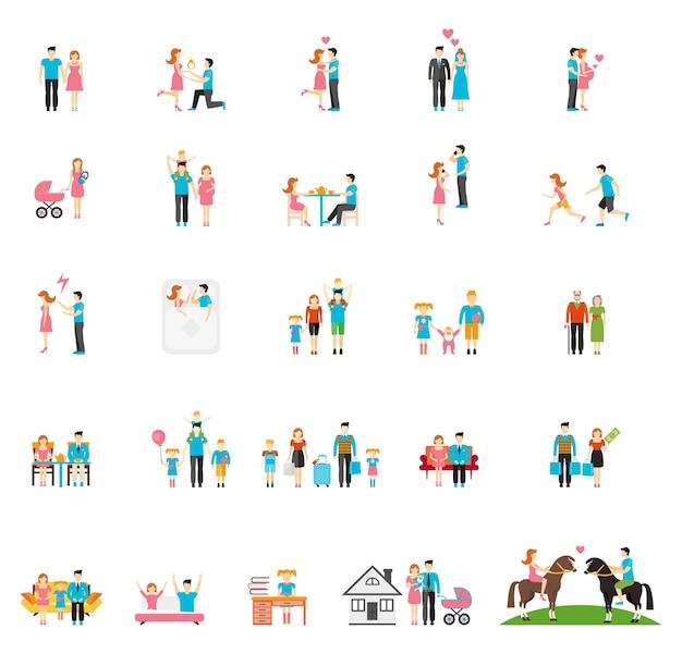 カップルと家族のフラットフィギュア。人々子供女の子パパ兄弟幼児娘姉妹お母さん。