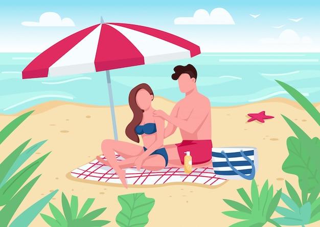 Соедините прикладывать лосьон солнцезащитного крема на иллюстрации цвета пляжа.