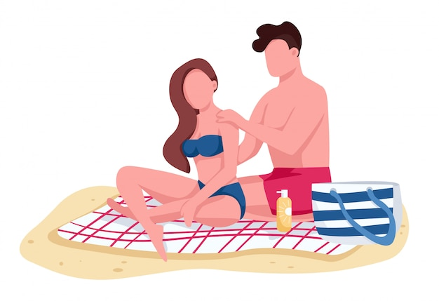 Couple applying sunscreen oil on beach flat color faceless characters