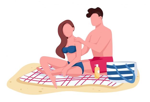 Пара наносит солнцезащитное масло на пляж плоского цвета безликих персонажей
