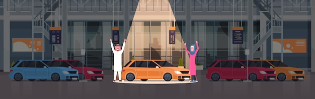 Couple of arab seller presenting new car in dealership center showroom over set of new vehicles horizontal illustration