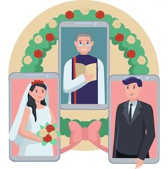 カップルがオンラインの結婚式のイラスト
