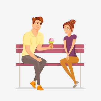 Couple are sitting on a bench.