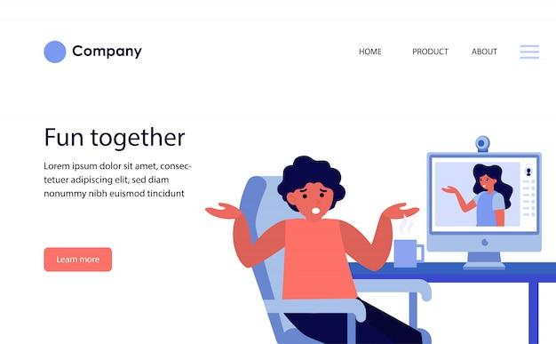 Пара, спорящая во время онлайн-видеочата. шаблон веб-сайта или целевая страница